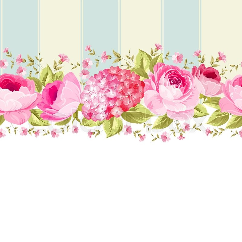 ornate pink flower border with tile elegant vintage card