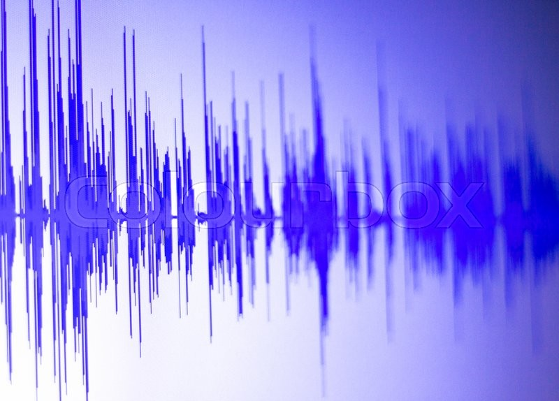 Audio studio digital voice recording voiceover sound wave on computer screen, stock photo
