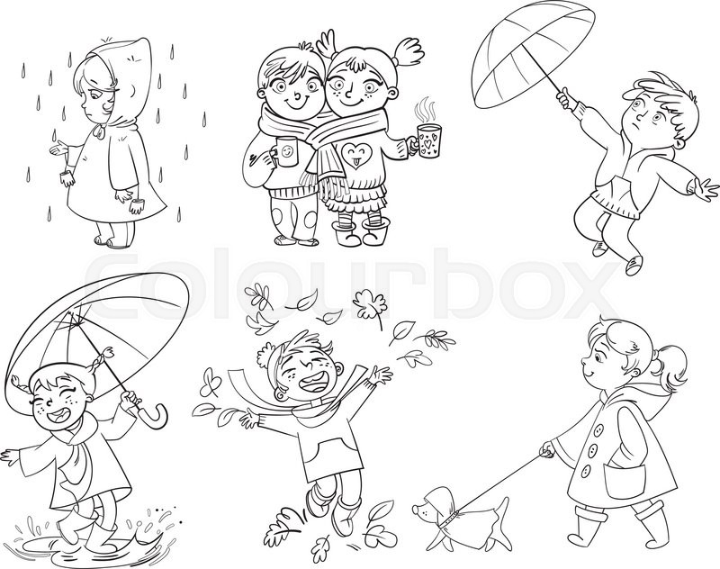 Children Under The Umbrella Girl In A Raincoat Raindrop Catches Funny Cartoon Character Vector Illustration Coloring Book