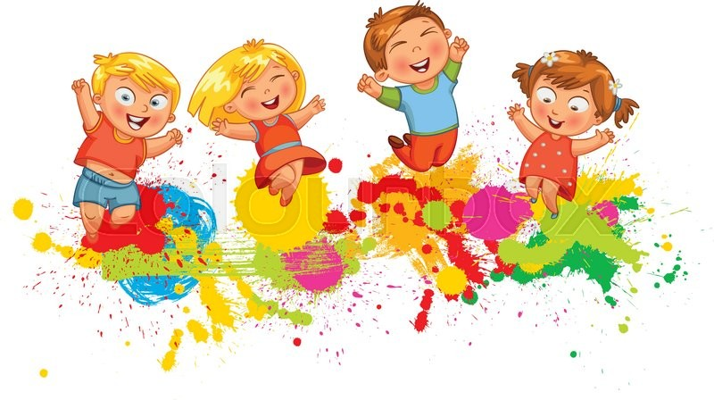 Children Jumping On The Background Color Splash Banner Funny