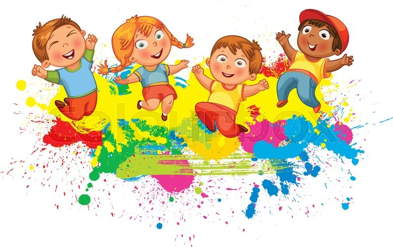 Children Jumping On The Background Color Splash Banner Funny Cartoon Character Vector Illustration Isolated White