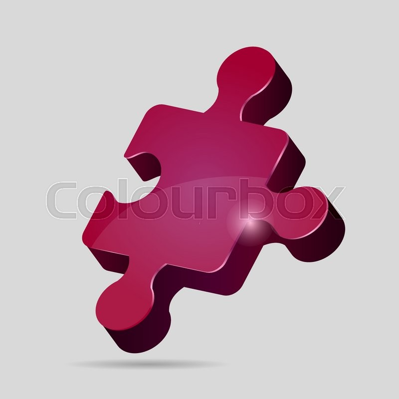 Pink 3D Puzzle Piece On Grey Background