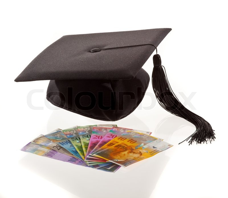 Mortar And Swiss Francs Symbol For Education Costs Stock Photo