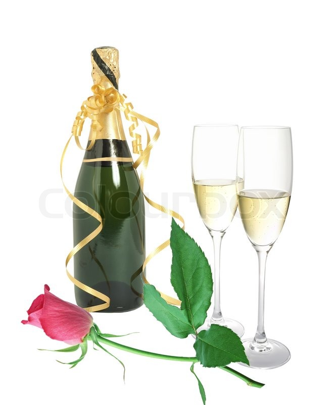 eine flasche champagner rosen und glas stock bild. Black Bedroom Furniture Sets. Home Design Ideas