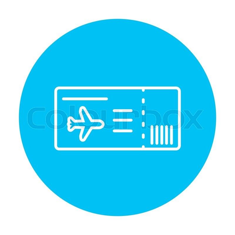 Flight Ticket Line Icon For Web Mobile And Infographics Vector White On The Light Blue Circle Isolated Background