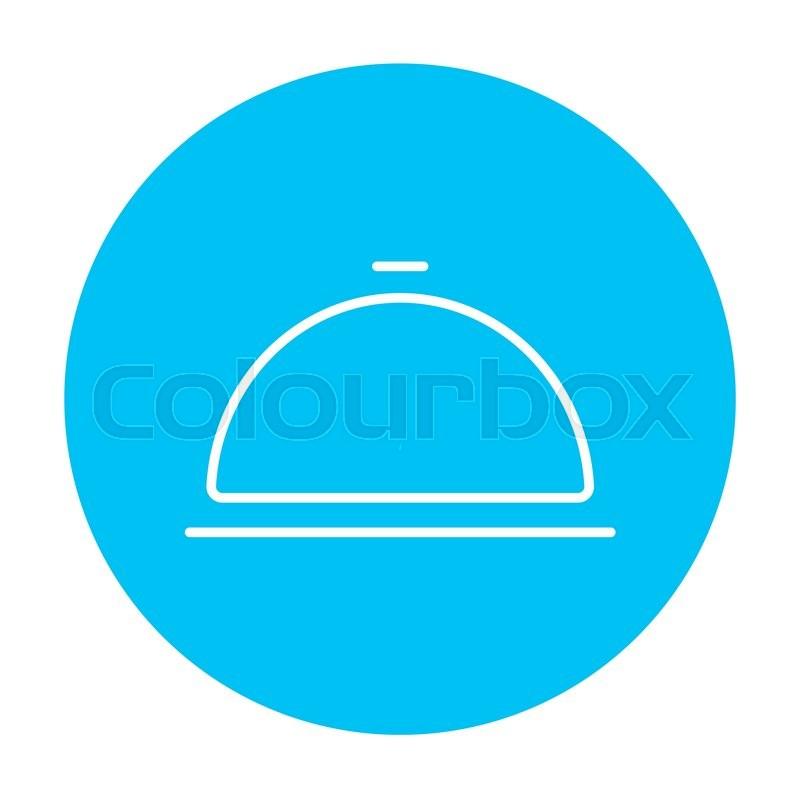 Restaurant Cloche Line Icon For Web Stock Vector