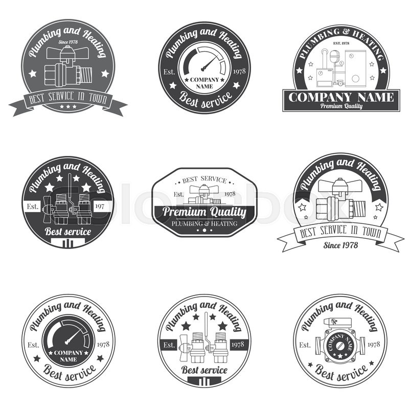 Set vintage plumbing heating services logo labels and badges stylish monochrome designr your company corporate identity concept business sign template stock vector colourbox wajeb Gallery