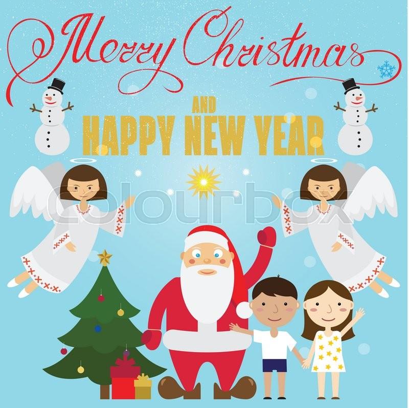 Christmas poster design with santa claus angel childrensnowman christmas poster design with santa claus angel childrensnowman christmas tree and christmas presents christmas greeting card m4hsunfo