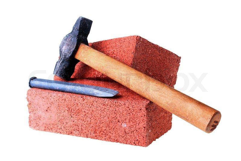 baustoffe und werkzeuge einen mei el und einen hammer mit einem stein aus rotem ton. Black Bedroom Furniture Sets. Home Design Ideas