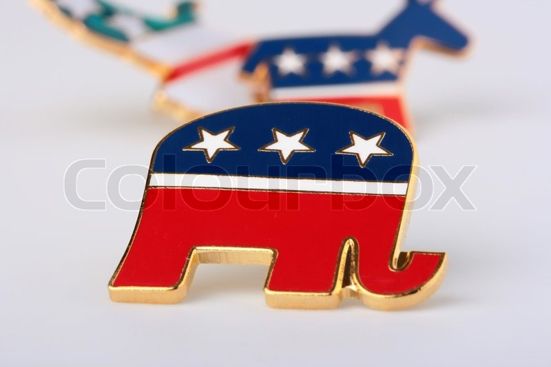 Stock image of 'The elephant - a Republican Party symbol in the USA, is used in the pre-election company.'
