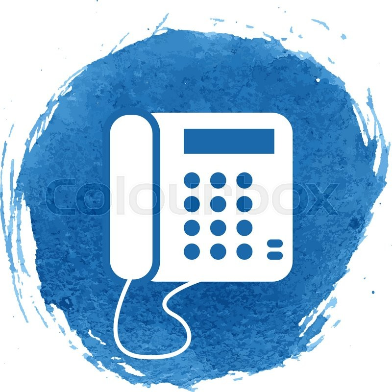 Vintage Phone Icon With Watercolor Effect Vector Illustration