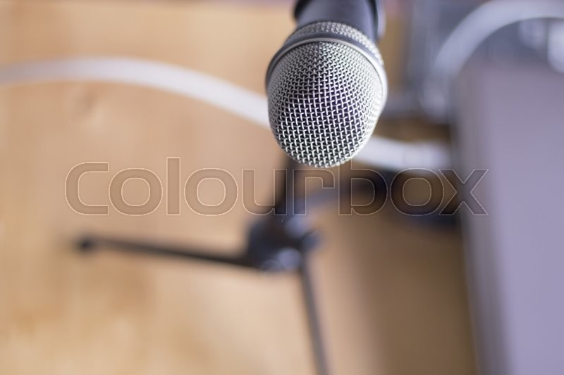 Home studio audio recording vocal studio microphone on stand to record singing or speaking voice, stock photo