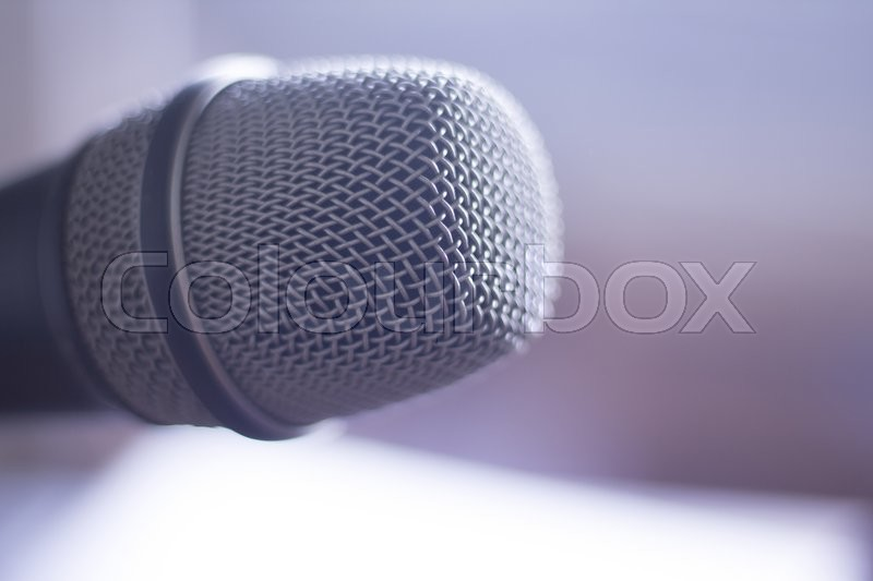 Audio recording vocal studio professional microphone to record singing or voice-overs, stock photo