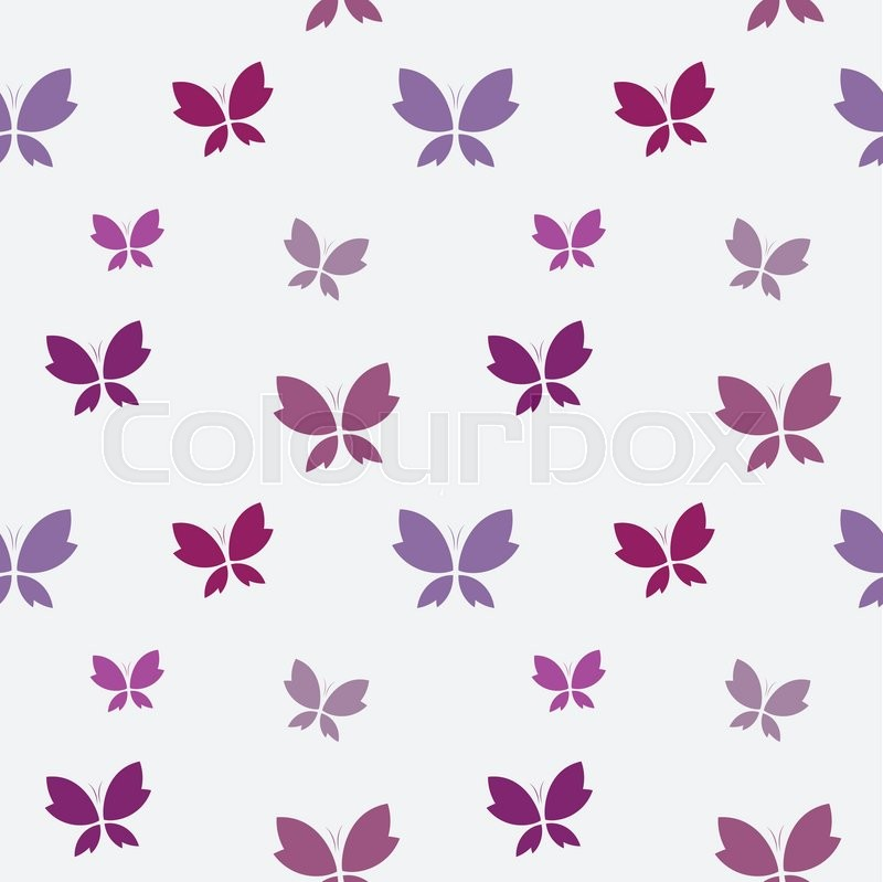 Vector Seamless Pattern With Purple Butterfly On White Background Wallpaper