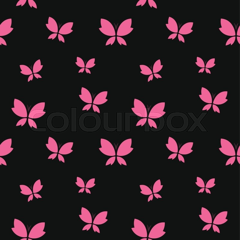 Vector Seamless Pattern With Pink Butterfly On Black Background Wallpaper
