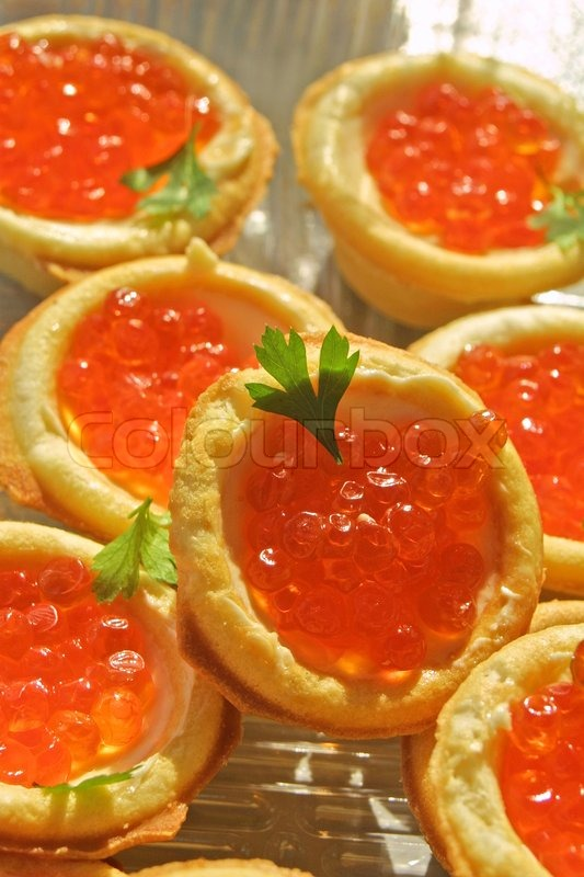 Canapes with red caviar stock photo colourbox for Canape with caviar