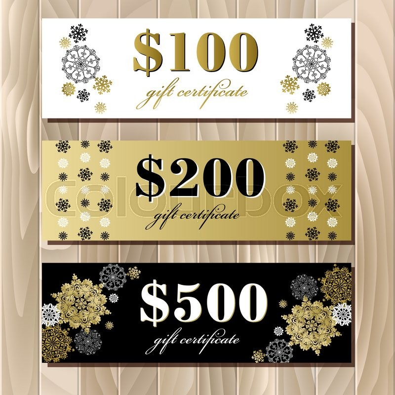 Gift certificate big sale discount card or voucher coupon gift certificate big sale discount card or voucher coupon template with golden snowflakes holiday background mock for banner or ticket yadclub Images