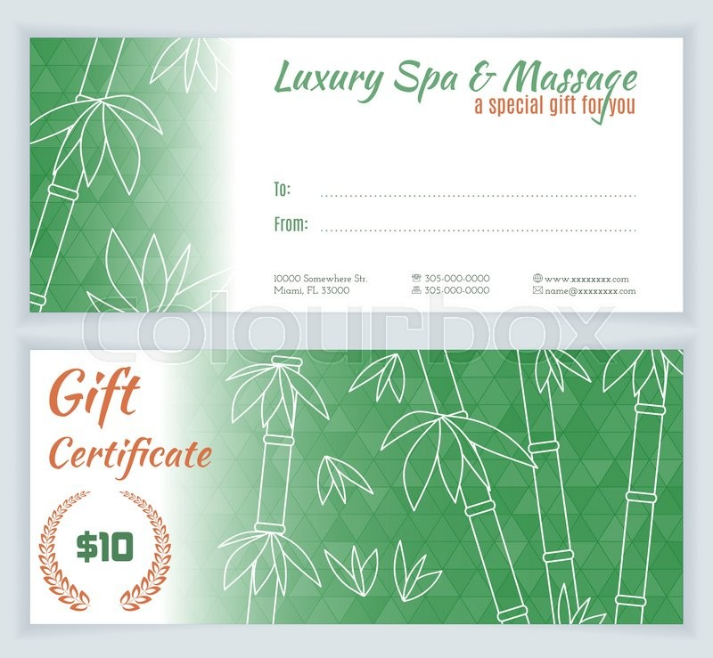 Luxury Spa, Massage Gift Certificate Template With Hand Drawn Bamboo.  Background For Invitation, Money Design, Currency, Note, Check (cheque),  Ticket, ...  Money Certificate Template