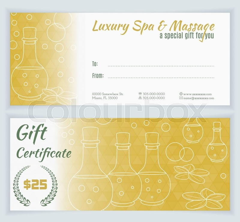 Spa, massage gift certificate template. Hand drawn bottles of ...