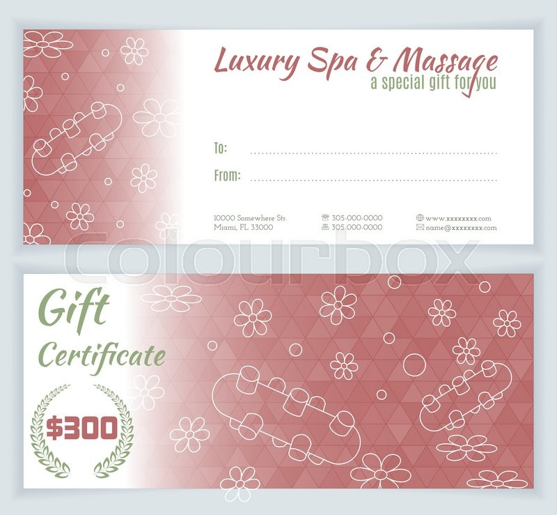 Spa Massage Gift Certificate Template With Hand Drawn Thai Massage