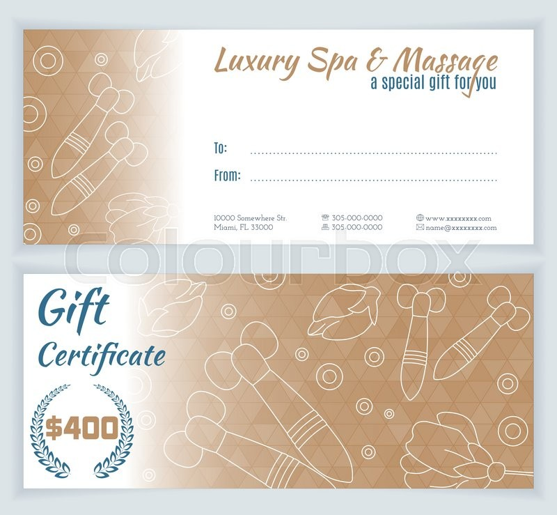Spa massage gift certificate template with hand drawn thai stock vector of spa massage gift certificate template with hand drawn thai massage tools yadclub Images