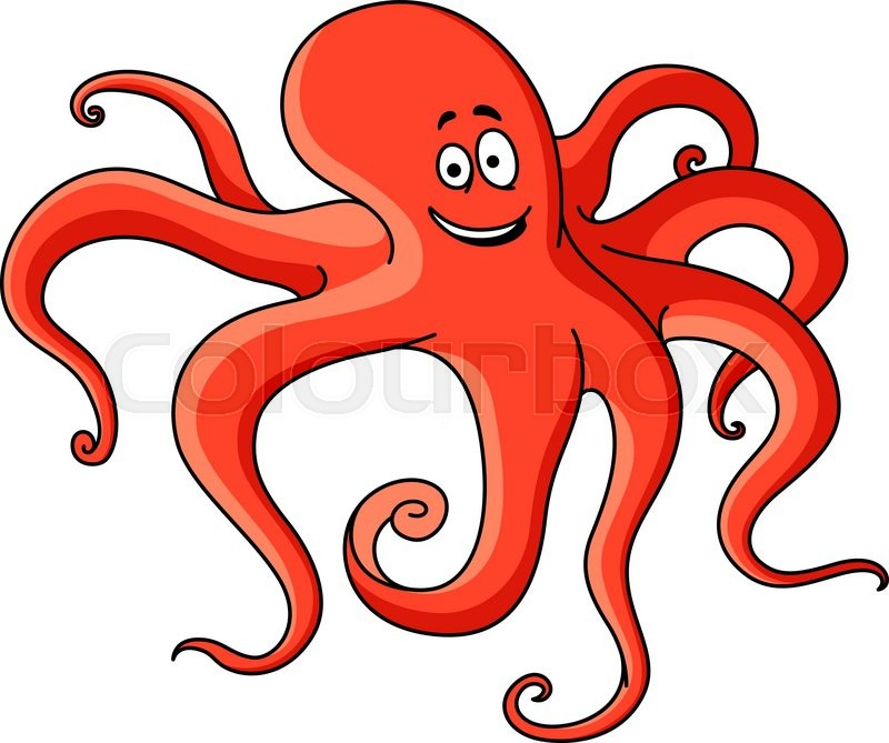 Red cartoon octopus with long tentacles hunting on the for Octopus in cartoon