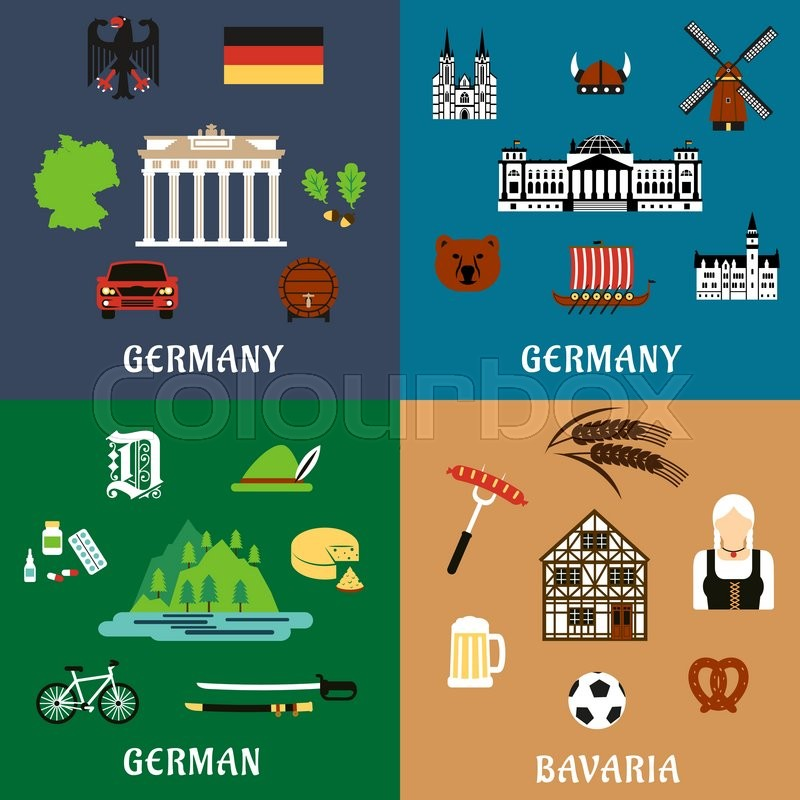 Germany travel and culture flat icons with national architecture – Germany Travel Map