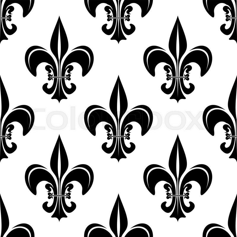 Seamless Black And White Vintage Fleur De Lis Pattern With