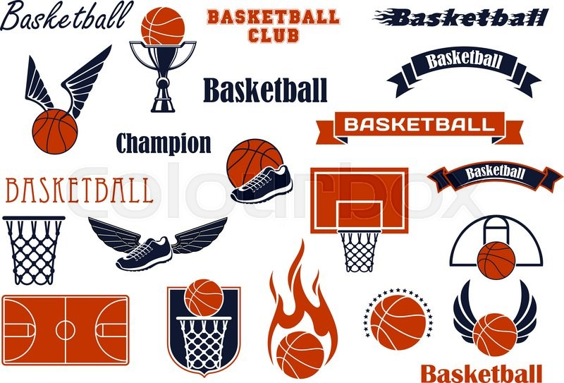 Basketball Sport Game And Competition Symbols For Sport Emblems Or