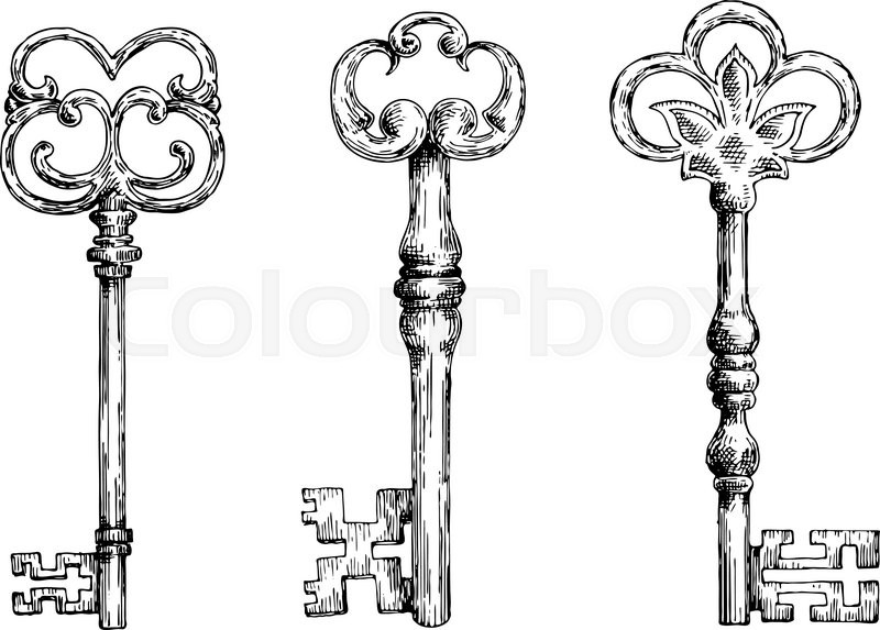 Isolated Medieval Forged Keys With Bows Decorated By