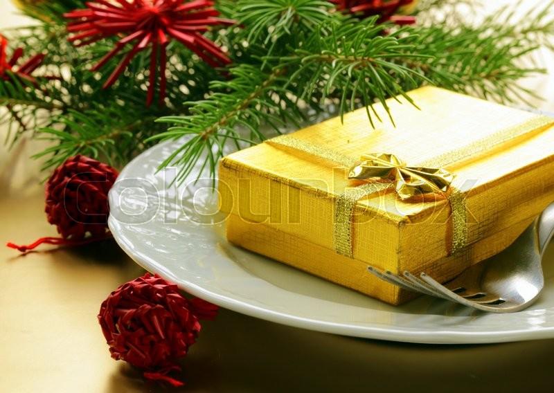 Festive Christmas table setting, stock photo