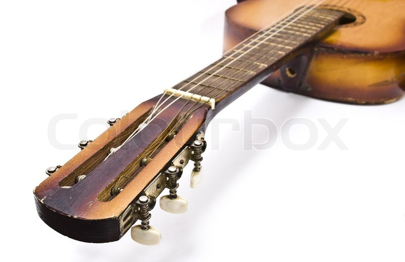 Detail of an old acoustic guitar | Stock image | Colourbox