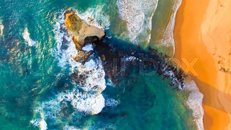 Overhead view of Twelve Apostles, Australia, stock photo
