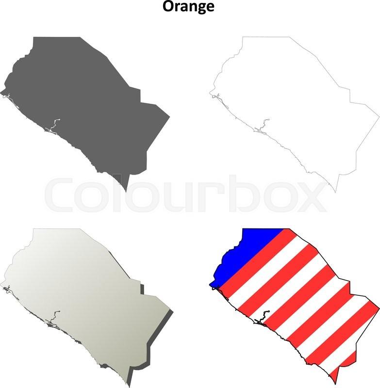 Orange County California Blank Outline Map Set