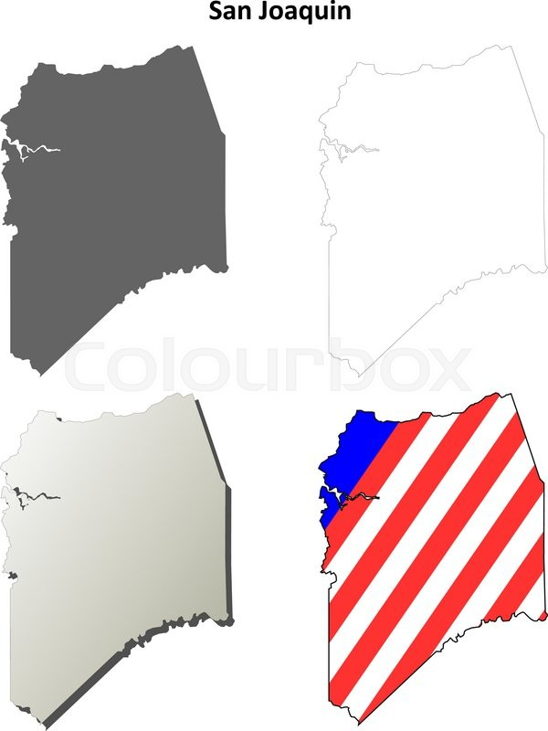 San Joaquin County California Blank Outline Map Set