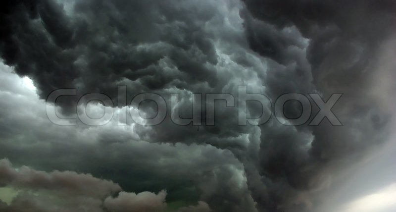 Heavy leaden thunderclouds before the hurricane, stock photo
