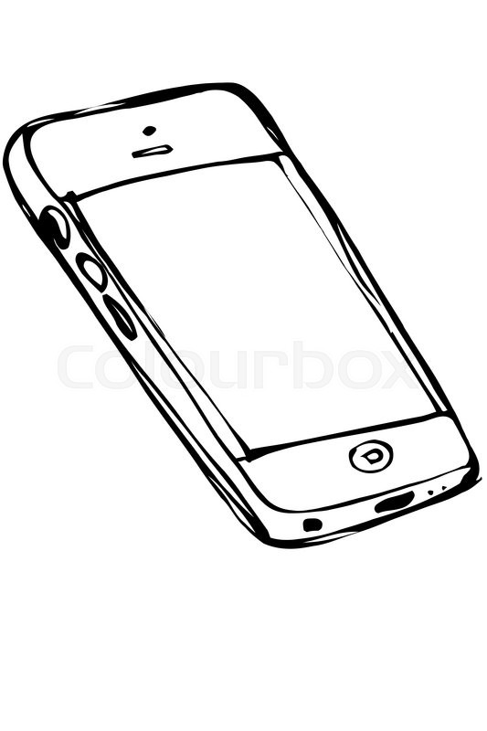 Black and white vector sketch of stock vector for Mobile telefono