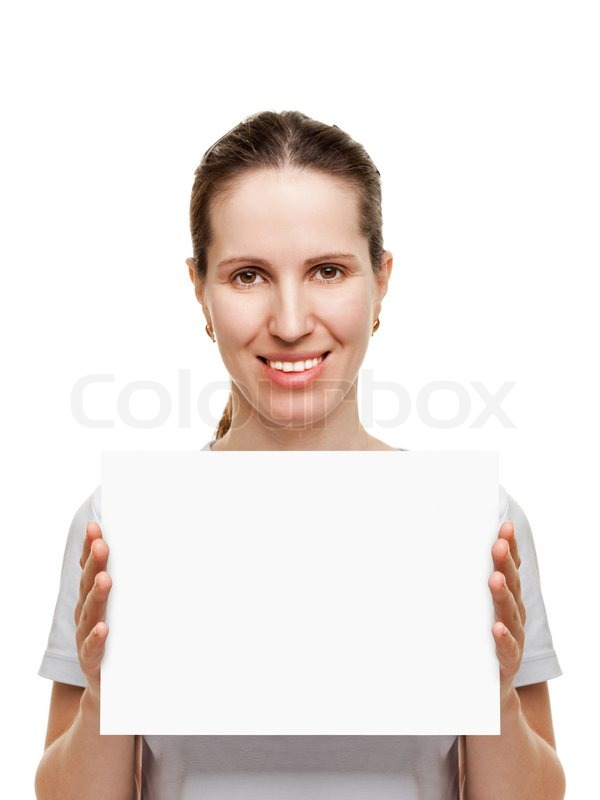 smiling women hand holding white empty blank card stock photo
