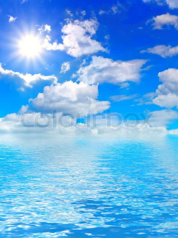 Blue Cloudy Sky With Sun And Water Stock Photo Colourbox