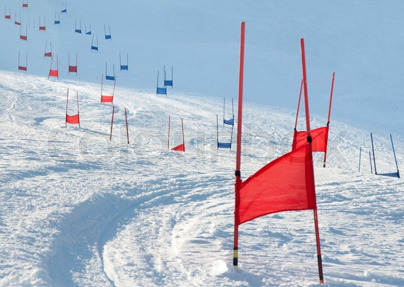 Stock image of 'Ski gates with flag red and blue parallel slalom'
