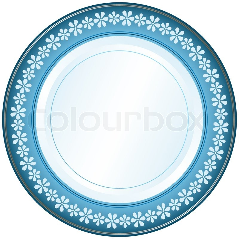 Stock vector of u0027White-blue decorative plate with floral ornament on white (vector  sc 1 st  Colourbox & White-blue decorative plate with floral ornament on white (vector ...