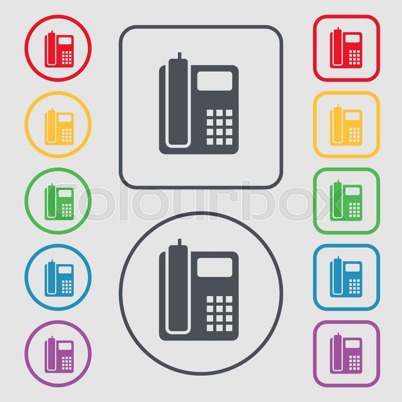 Home Phone Icon Sign Symbol On The Round And Square Buttons With