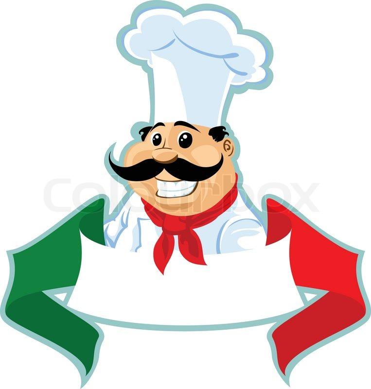 Italienischer koch kochen bezeichnung vektorgrafik for Kochen italienisch