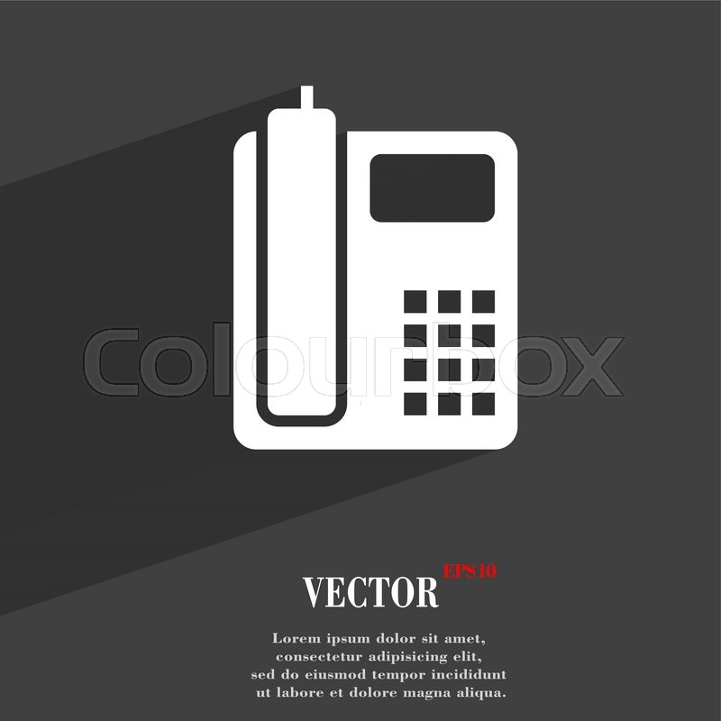 Home Phone Symbol Flat Modern Web Design With Long Shadow And Space