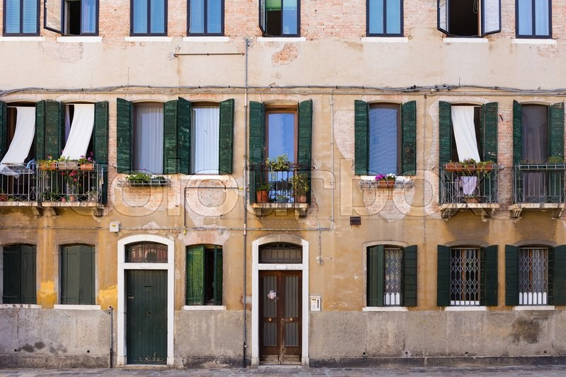Facade of the old italian house in venice stock photo for Classic italian house