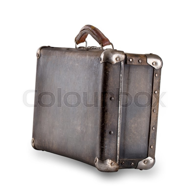 standing at an angle leather old suitcase isolated on white