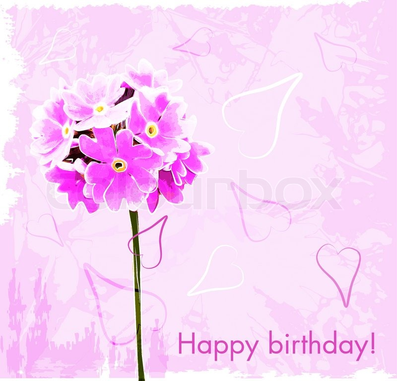 Happy Birthday Card With Pink Flowers Stock Vector Colourbox