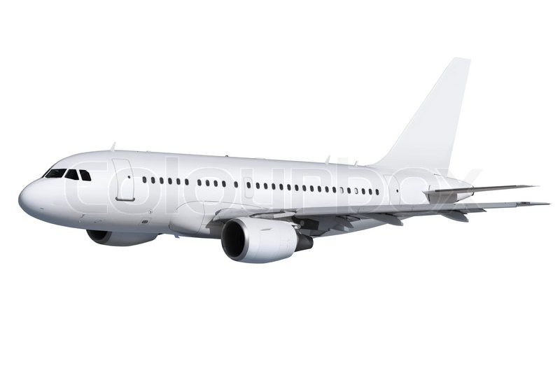 Commercial Airplane On White Background With Path Stock