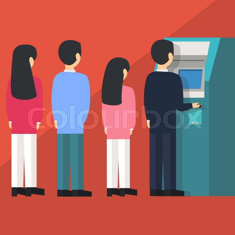 People waiting in line queue to draw money from self-service ATM Automated Teller Machine cartoon vector illustration flat, vector