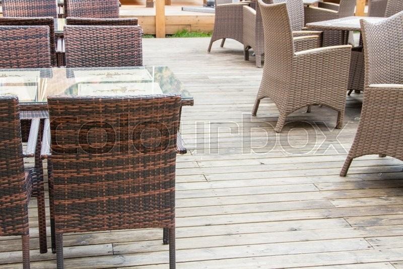 Chairs and tables in the restaurant, stock photo